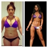 8.5 months of building muscle and losing fat. Very careful process. Left she could not do a pull up, right she could do 10